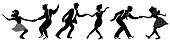 Set of three negative dancing couples silhouettes on white background. People in 1940s or 1950s style. Men and women on swing, jazz, lindy hop or boogie woogie party. Vector illustration.