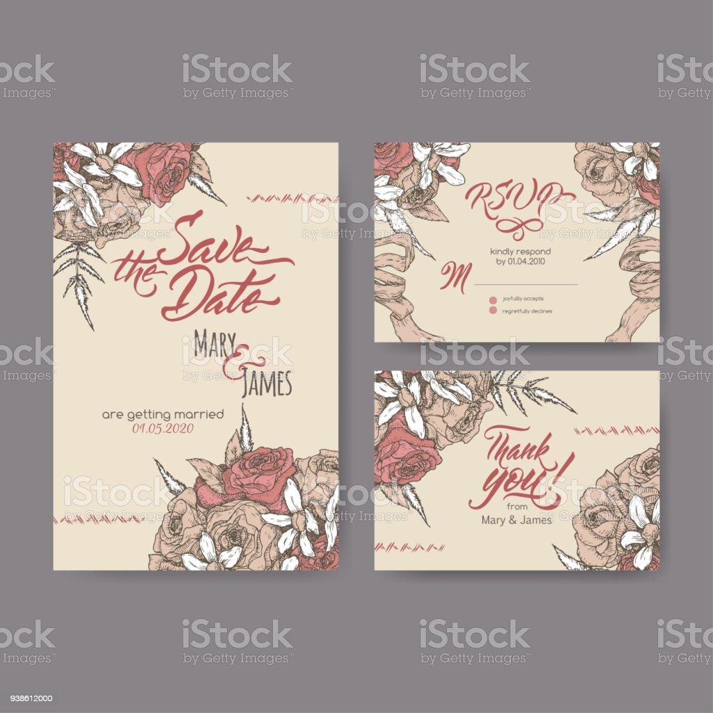Satz Von Drei Ursprunglichen Attraktive Hochzeitskarten Basierend