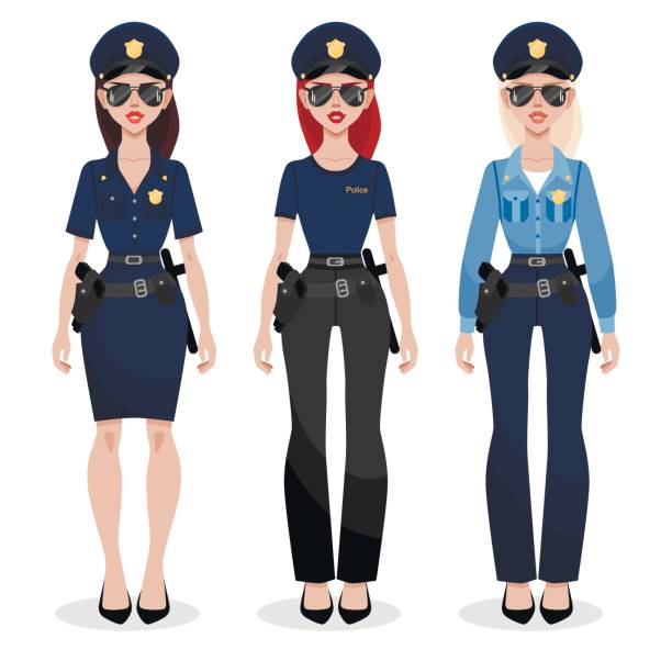 set of three police women in different uniform. beautiful young police officer in uniform. women's profession. - symbol seksu stock illustrations