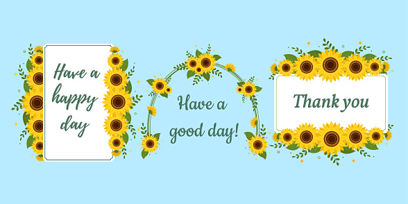 A set of three postcards in a rectangular white frame and an arch with sunflowers on a blue background. Vector illustration for your design.