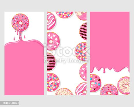 set of three posters of donuts