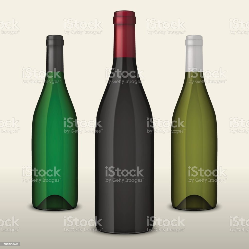 Set of three realistic vector wine bottles without labels isolated on white background. Design template in EPS10 vector art illustration