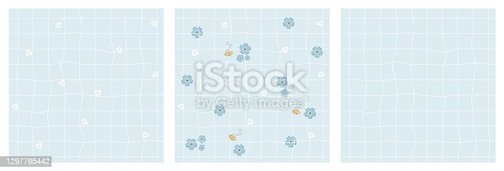 istock Set of three repeat seamless patterns. White daffodils, blue forget me not flowers on squared rough pastel paper background. Yellow Bees in love are around 1297765442