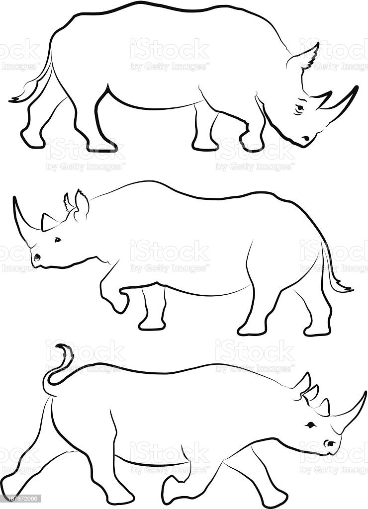 Set of three rhino line drawings vector art illustration