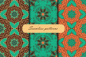 Set of three seamless pattern with mandalas in beautiful vintage colors. Vector background.