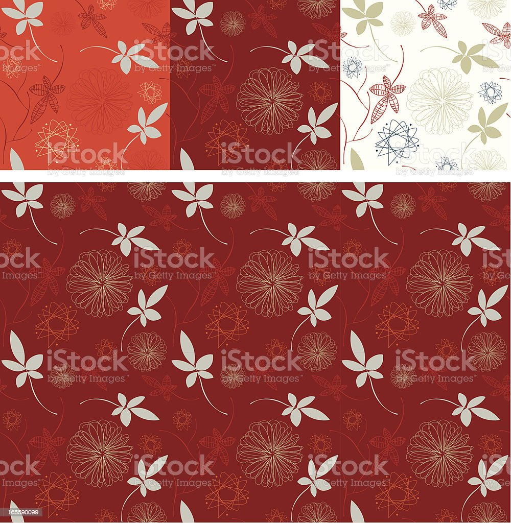 Set of three seamless retro pattern - christmas colours royalty-free stock vector art
