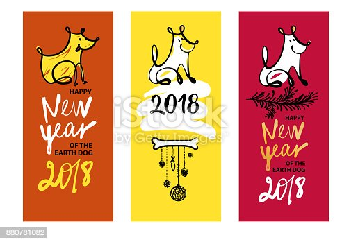 Set Of Three Sketch Image Dog Puppy Symbol Chinese Happy New Year