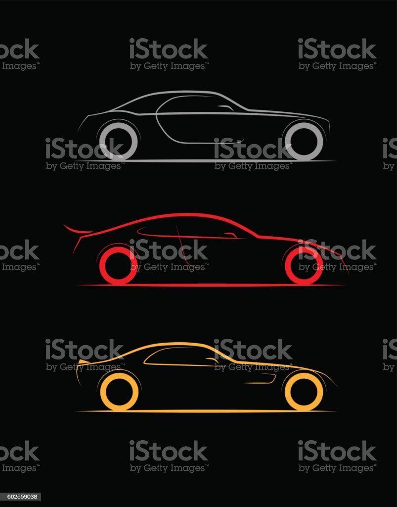 Set Of Three Stylized Silhouette Sports Business Luxury Car Coupe