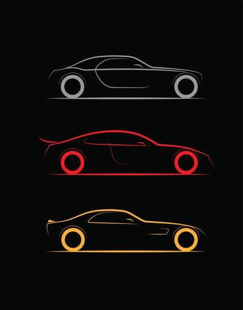 set of three stylized silhouette sports, business luxury car coupe vector art illustration
