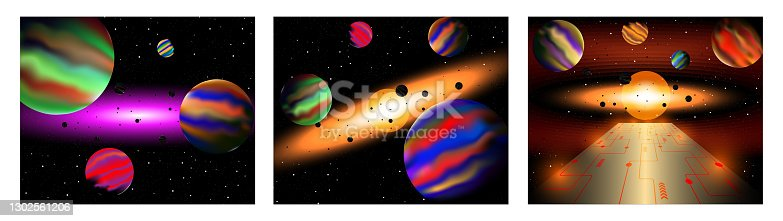 istock Set of three vector illustration of cosmic space with beautiful stars light and the sun. 1302561206