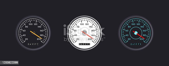 Set of three vector isolated speedometers for dashboard. Circular gauge with arrow or pointer for vehicle panel, Device for measuring speed and automotive speedometer, web download speed sign.