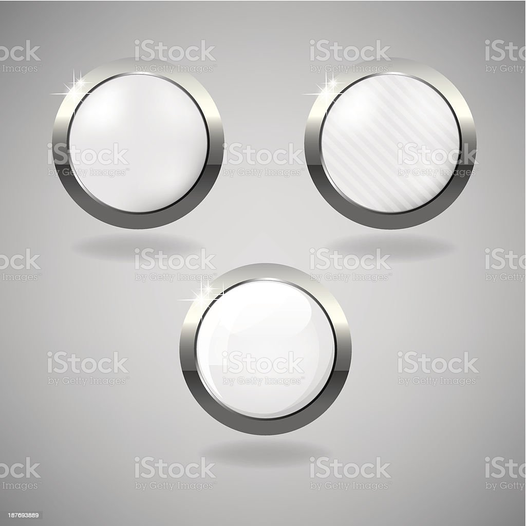 Set of three white and silver buttons on grey background. royalty-free stock vector art