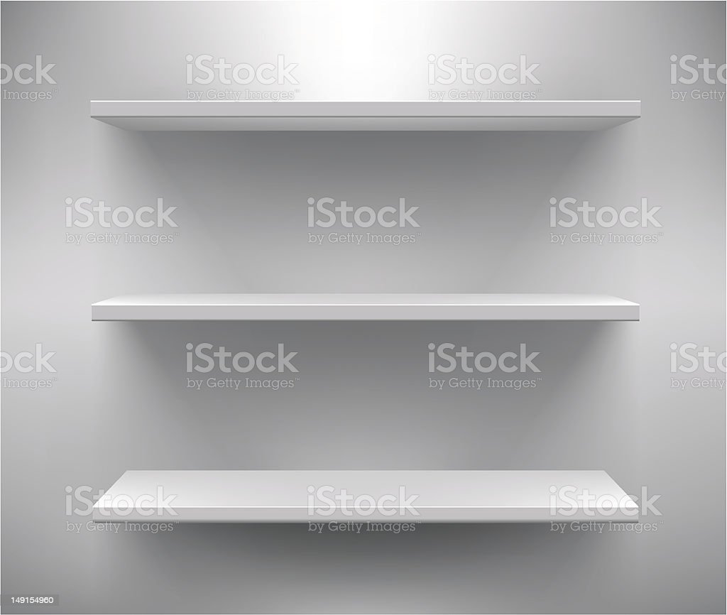 Set of three white empty shelves royalty-free stock vector art