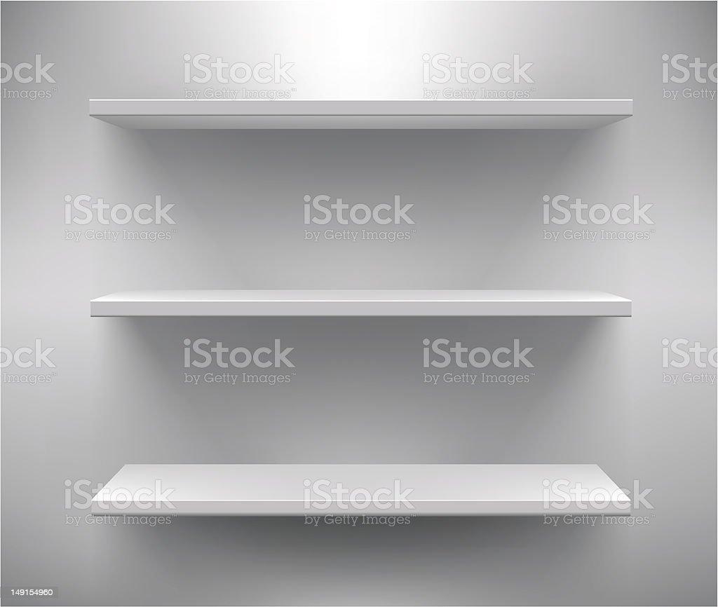 Set of three white empty shelves vector art illustration