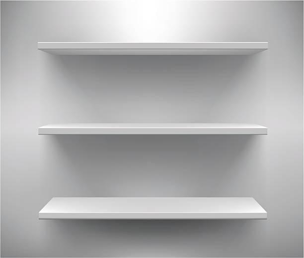 stockillustraties, clipart, cartoons en iconen met set of three white empty shelves - warenhuis