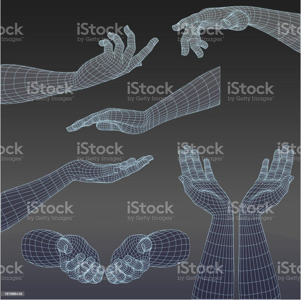 Set of three-dimensional hands vector art illustration