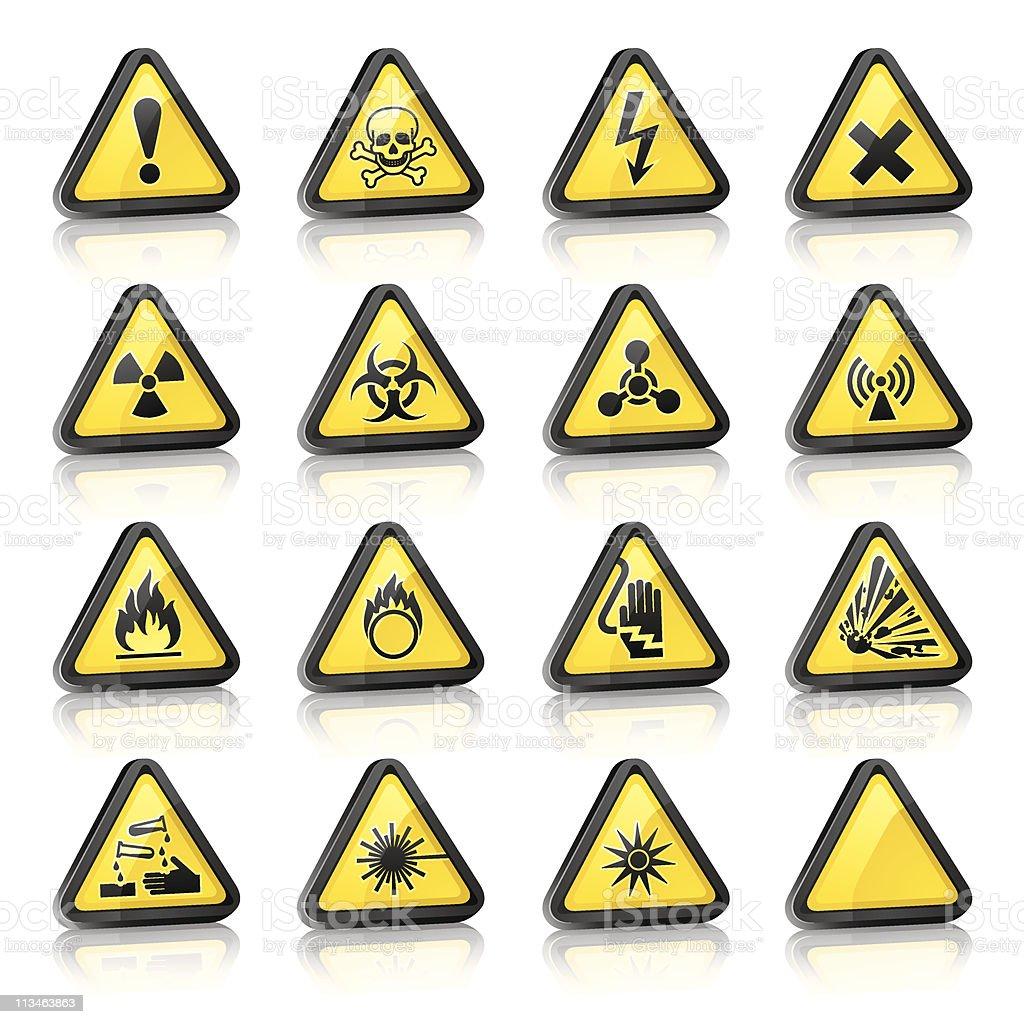 Set of three-dimensional Warning Hazard Signs royalty-free stock vector art