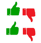 Set of thumb up icons, vector illustration