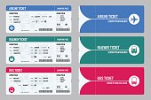 Set of tickets airplane, bus and train. Travel around the world and countries. Recreation and entertainment. Business trip. Vector isometric illustration. Isolated on white background. Vector design