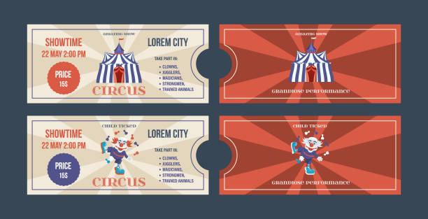 illustrazioni stock, clip art, cartoni animati e icone di tendenza di set of tickets for circus performances, events, show performances - funfair entrance