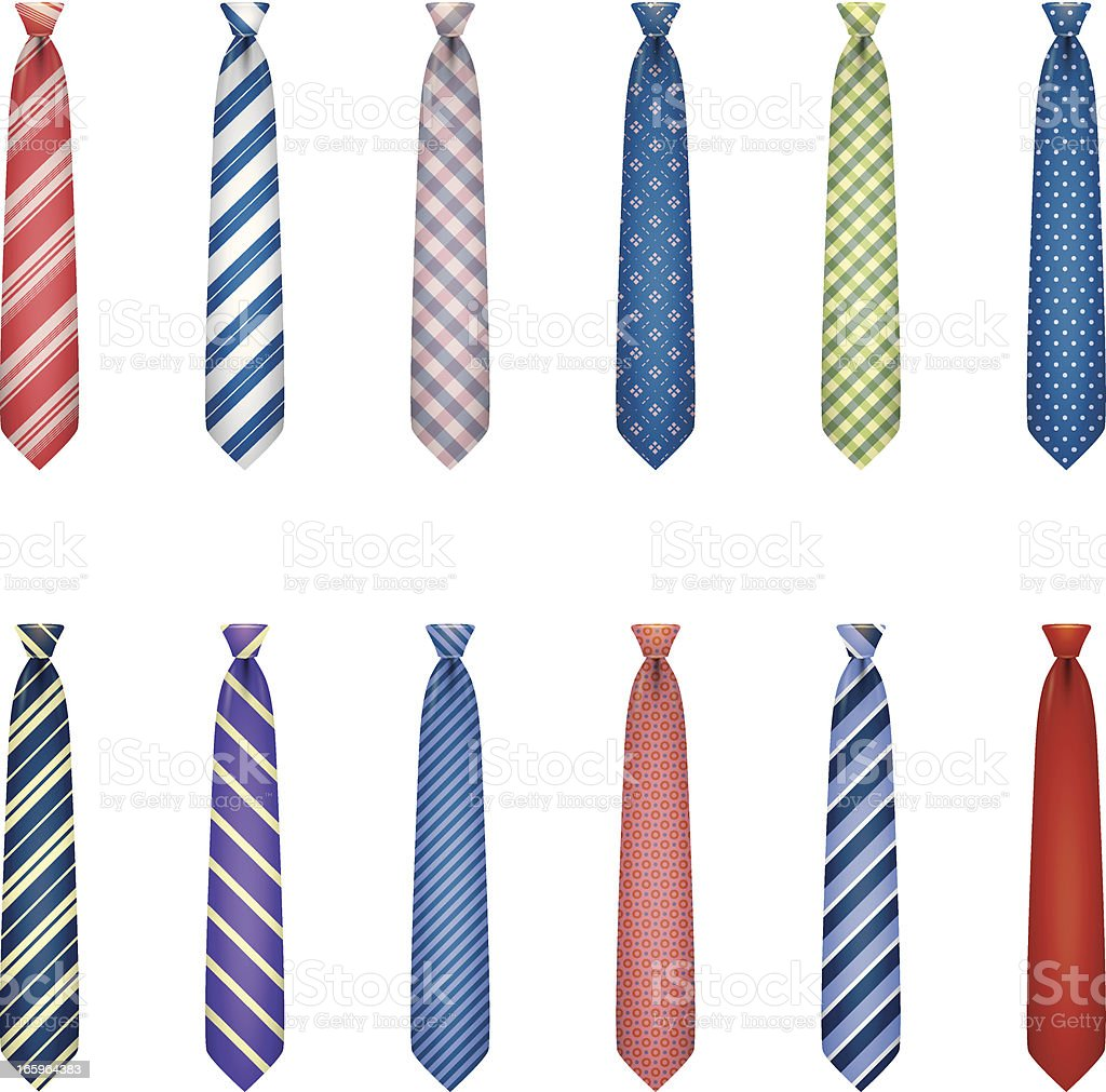 Set of ties with colorful prints vector art illustration