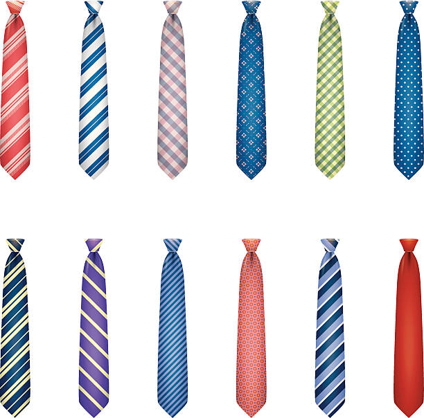 stockillustraties, clipart, cartoons en iconen met set of ties with colorful prints - overhemd en stropdas