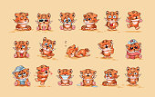 Set Vector Stock Illustrations isolated Emoji character cartoon Tiger cub sticker emoticons with different emotions for site, infographics, video, animation, website, e-mail, newsletter, report, comic