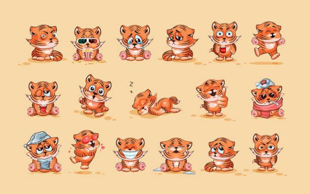 ilustrações, clipart, desenhos animados e ícones de conjunto de tigre filhotes - emoji de lágrimas de alegria