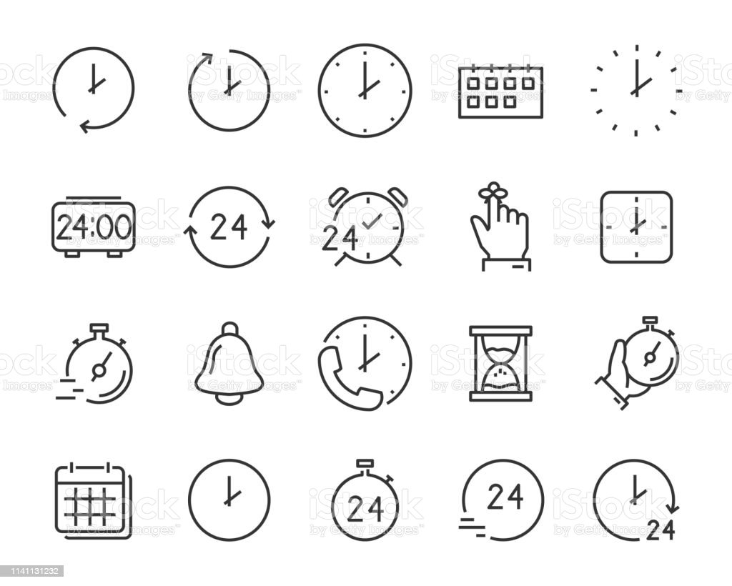 Set Of Time Icons Such As Calendar Clock Reminder Hour Date