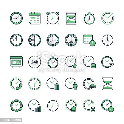 Set of time related vector line icons. Time and clock icons, flat design. Filled outline time icon