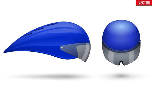 Conjunto de cascos para ciclismo prueba tiempo - ilustración de arte vectorial
