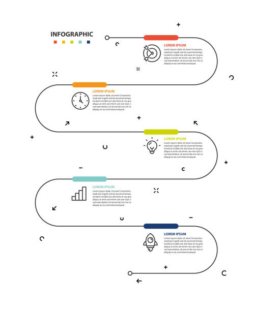 set of timeline infographic 5 step icons - вертикальный stock illustrations