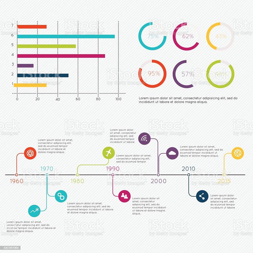 Set of Timeline Infographic Design Templates. vector art illustration