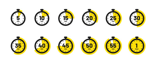 Set of timer and stopwatch icons. Kitchen timer icon with different minutes. Cooking time symbols and labels vector art illustration