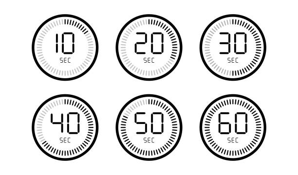 Set of timer count down digital clock isolated on white background. Set of timer count down digital clock isolated on white background. EPS 10 gezond stock illustrations