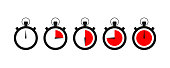 Set of timer icon with red times left. Sports clock with arrow. EPS 10