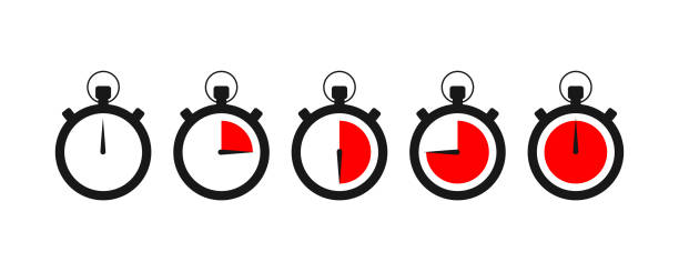Set of timer icon with red times left. Sports clock with arrow. Set of timer icon with red times left. Sports clock with arrow. EPS 10 clock stock illustrations