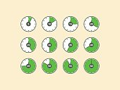 Set of timer vector with numbers, flat design