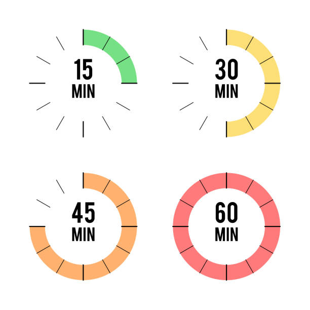 Set of timers icons vector art illustration