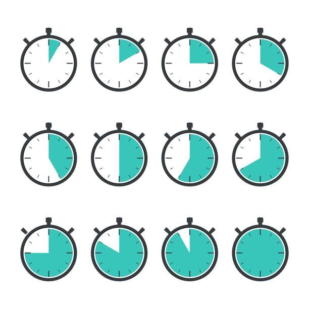 illustrations, cliparts, dessins animés et icônes de ensemble de minuteries. indicateurs de minuterie de 5 minutes à 60 minutes. icône de chronomètre. concept de temps et de sport. taux de symbole, vitesse ou course. - chronomètre