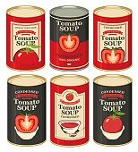 Set of vector illustrations of tin cans with various labels for condensed tomato soup with images of tomatoes and inscriptions in retro style