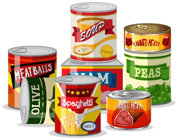 illustrazioni stock, clip art, cartoni animati e icone di tendenza di set of tin food - latte