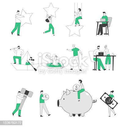 istock Set of Tiny Male and Female Business People Holding Huge Rating Stars, Working in Office and Floating on Boat. Characters Collect Money to Piggy, Look to Spyglass Bank. Linear Vector Illustration 1226750172