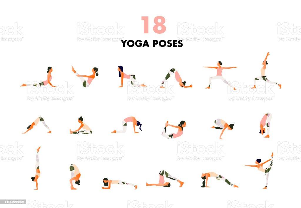 Set Of Tiny Women Performing Yoga Poses Women Practicing Asana Stock Illustration Download Image Now Istock