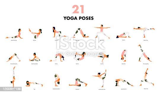Set of Tiny women performing yoga poses. Women practicing asanas and pelvic floor exercises. Flat cartoon vector illustration isolated on white background.