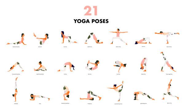stockillustraties, clipart, cartoons en iconen met set van kleine vrouwen het uitvoeren van yoga poses. vrouwen die asana beoefenen - yoga