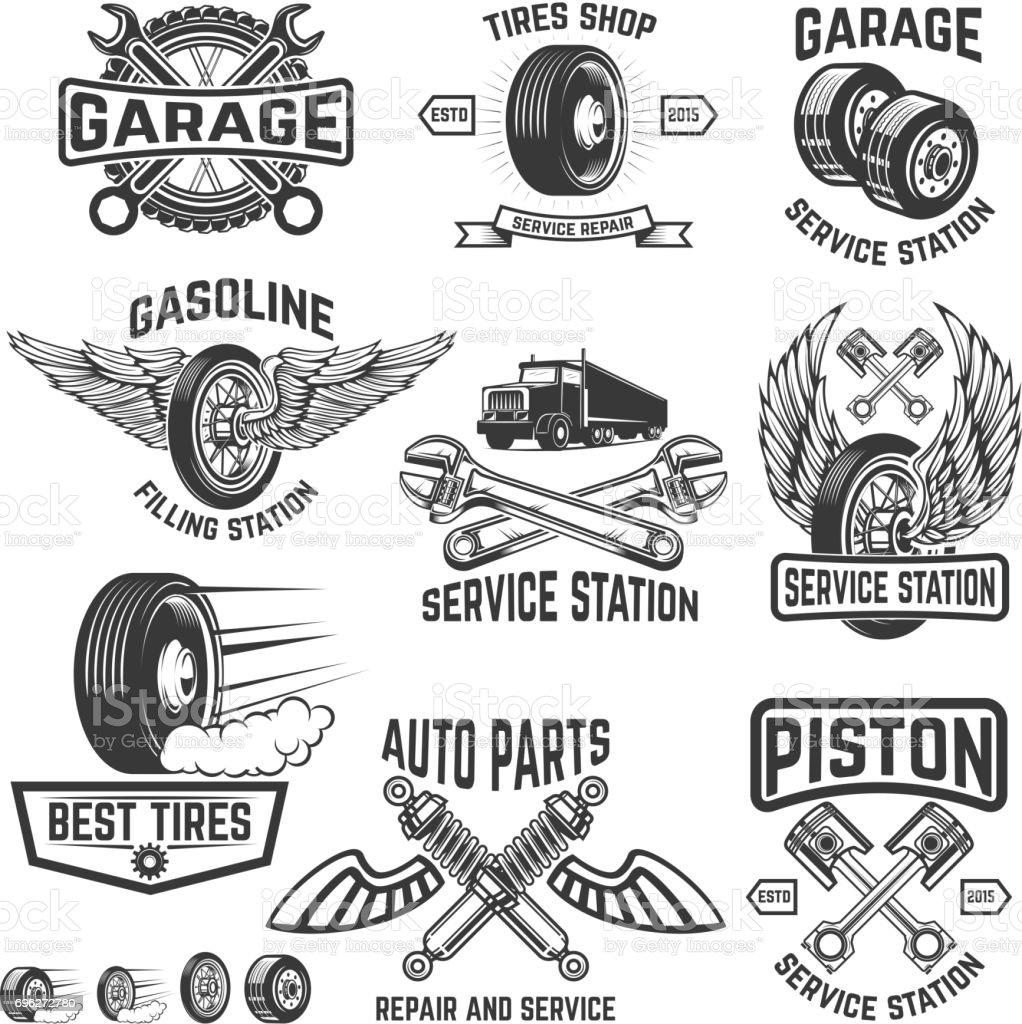 Set Of Tire Service Car Repair Labels Pistons Car Wheels Repair ...