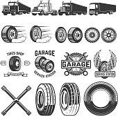 Set of tire service design elements. Truck illustrations, wheels. Design elements for label, emblem, sign. Vector illustration