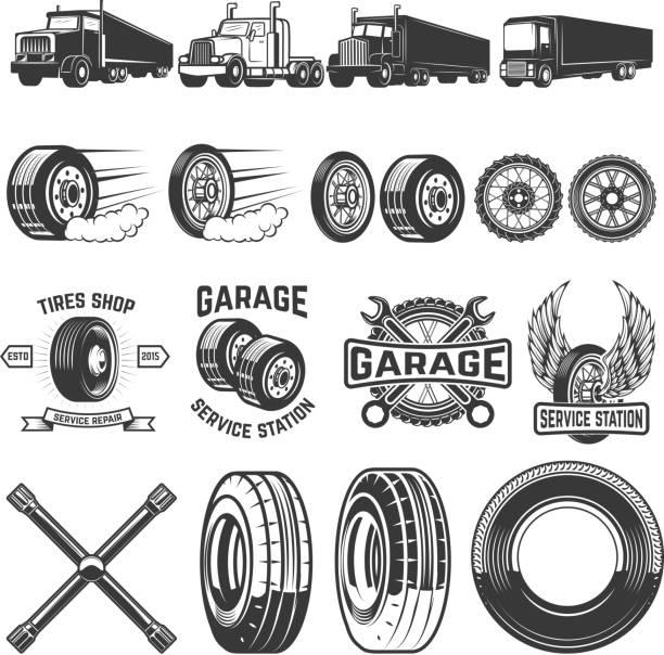 ilustraciones, imágenes clip art, dibujos animados e iconos de stock de conjunto de elementos de diseño de servicio neumático. ilustraciones de camiones, ruedas. elementos de diseño para la etiqueta, emblema, signo. ilustración de vector - tires