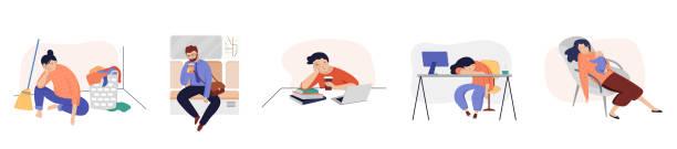 stockillustraties, clipart, cartoons en iconen met reeks vermoeide, slaperige mensen, bureauarbeiders, vermoeide moeder met postnatale depressie, student, slaperige mens in metro - couple fighting home